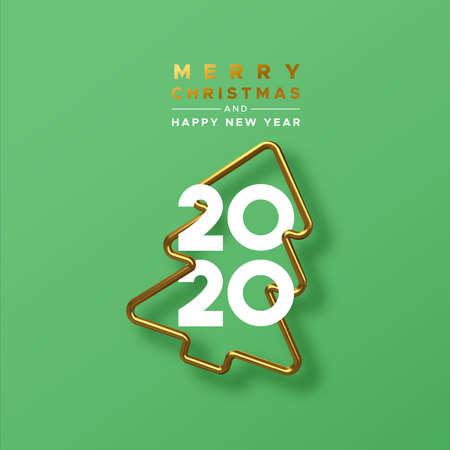 Feliz Navidad feliz año nuevo 2020 tarjeta de felicitación de marco de árbol de pino de oro 3d realista sobre fondo verde festivo con números de fecha de calendario para la invitación a la fiesta.