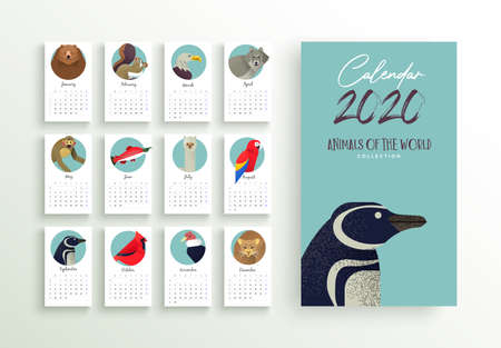 2020 calendar template, new year planner layout with wild animal cartoon on isolated white background. Monthly date schedule for business week organizer, diary or print. Ilustracja