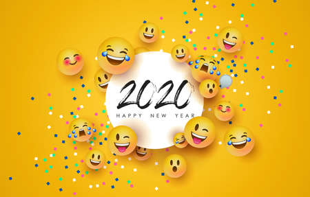Happy New Year 2020 greeting card of funny 3d  yellow face social icons and paper frame. Fun chat reaction emoticon for holiday party celebration. Ilustracja