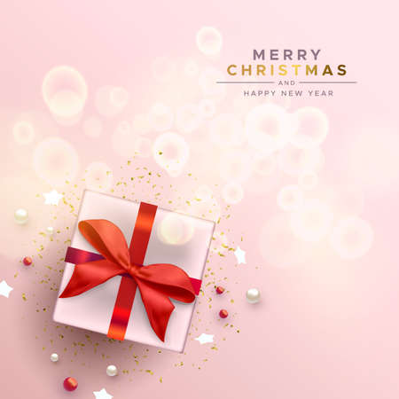 Merry Christmas Happy New Year greeting card, red bow gift box with holiday decoration on abstract blur light background. Ilustracja