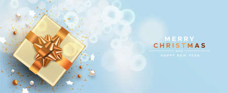 Merry Christmas Happy New Year web banner, white holiday gift box with gold party decoration on winter background.