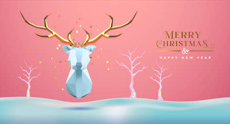 Merry Christmas Happy New Year greeting card, low poly 3d reindeer head with gold antler on delicate winter snow landscape. Paper craft origami deer design for seasons greetings. Ilustracja