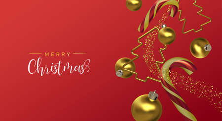 Merry Christmas greeting card of gold 3d party decoration falling in dynamic motion on festive red background. Holiday ornament includes pine tree, candy cane and bauble ball. Ilustracja
