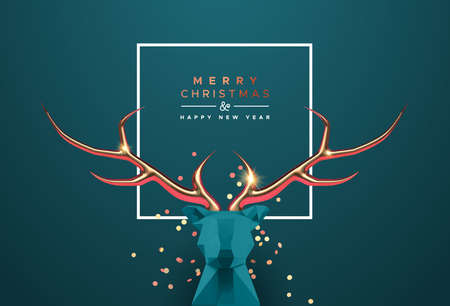 Merry Christmas Happy New Year greeting card, 3d low poly reindeer head with luxury gold copper antler. Realistic origami deer for elegant party invitation or seasons greetings. Ilustracja