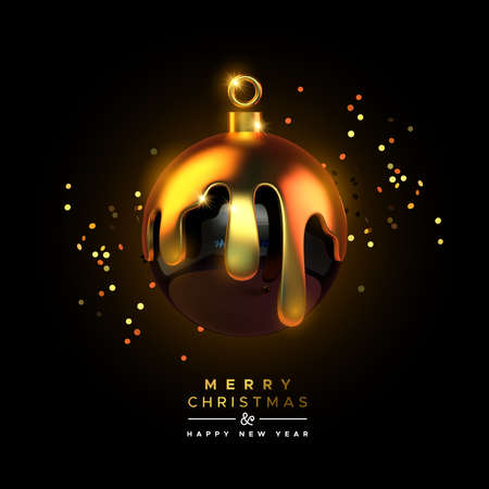 Merry Christmas Happy New Year greeting card of luxury black bauble ball ornament in realistic 3d style with melted gold and party confetti. Elegant celebration invitation or holiday greetings design. Ilustracja