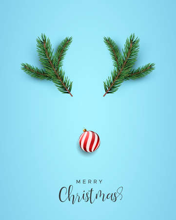 Merry Christmas greeting card, funny reindeer face shape made of realistic 3d pine tree branch and holiday bauble ornament from top view angle.