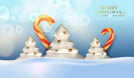 Merry Christmas Happy New Year greeting card, winter pine tree and 3d candy cane on snow background for season event or party invitation. Ilustracja