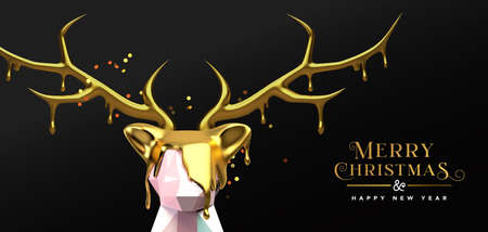 Merry Christmas Happy New Year greeting card of abstract low poly 3D reindeer with gold melted antler for luxury holiday party invitation or season greetings.