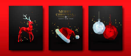 Merry Christmas Happy New Year greeting card set of red low poly 3d holiday decoration with luxury gold party confetti. Includes reindeer animal, bauble ball and santa claus hat.