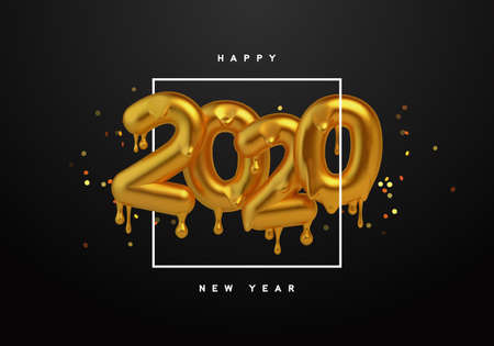 Happy New Year 2020 greeting card, realistic 3d gold drip typography sign with luxury golden glitter on black background. Melted glossy metallic type for party invitation or celebration event