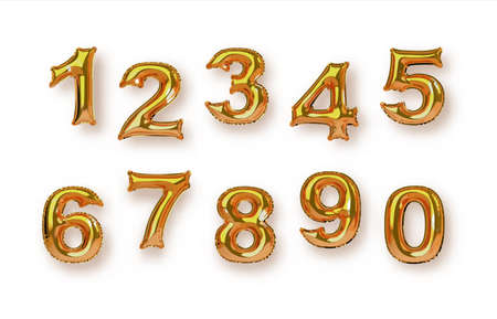Gold foil balloon number collection on isolated white background. Birthday year or business sale numeric set in realistic 3d style.