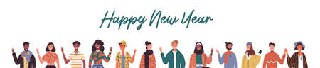 Happy New Year web banner illustration of diverse international people characters from worldwide cultures for holiday seasons greetings.