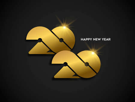 Happy New Year 2020 gold luxury greeting card design. Modern golden calendar date number sign on black background.