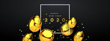 Happy New Year web banner of realistic 3d gold foil balloon on elegant black background with party confetti. Dynamic balloons decoration floating design for holiday invitation or season event.