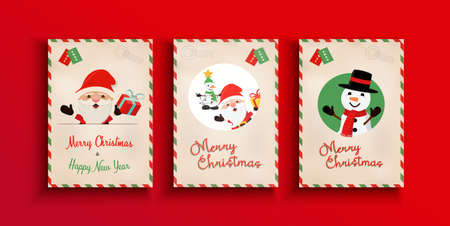 Merry Christmas greeting card set in traditional vintage mail style. Holiday postcard from the north pole with cute Santa Claus cartoon and winter snowman celebration message.