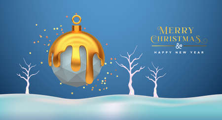 Merry Christmas Happy New Year greeting card, low poly 3d bauble ornament with gold melted on blue winter snow landscape. Paper craft origami toy design for seasons greetings.
