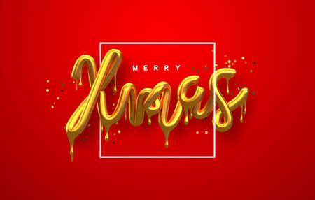 Merry Christmas greeting card, realistic 3d gold drip typography sign with luxury golden glitter on festive red background. Melted glossy metallic type for party invitation or celebration event