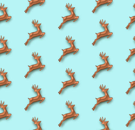 Merry Christmas seamless pattern, copper realistic 3d reindeer ornament background. Deer holiday layout backdrop.