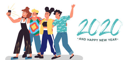 Happy New Year 2020 greeting card illustration of diverse young teen people friends taking selfie together for holiday season event.