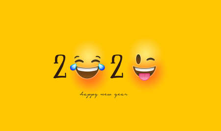 Happy New Year 2020 greeting card of funny 3d smiley face social icons. Fun chat reaction emoticon banner for holiday party celebration.