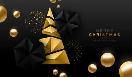 Merry Christmas Happy New year luxury greeting card of gold low poly pine tree with elegant 3d black decoration. Modern abstract holiday design for party invitation or seasons greetings.