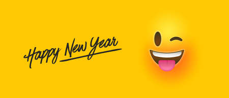 Happy New Year web banner illustration of funny chat emoticon, social holiday concept with yellow smiley face reaction.