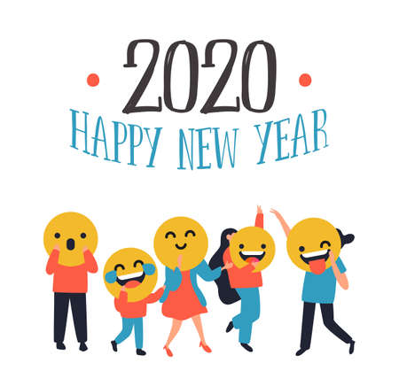 Happy New Year 2020 greeting card of diverse people with smiley face social icons. Fun chat reaction emoticon banner for holiday party celebration.