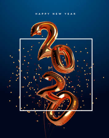 Happy New Year 2020 greeting card of realistic 3d copper foil balloon number on elegant party confetti background. Mylar balloons typography quote sign for holiday eve invitation or season event. Иллюстрация