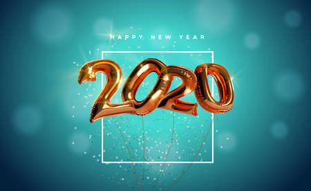 Happy New Year 2020 greeting card of realistic 3d bronze foil balloon number on elegant party confetti background. Mylar balloons typography quote sign for holiday eve invitation or season event. Ilustracja