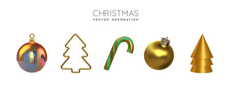 Set of isolated christmas decoration elements. Festive holiday objects collection include gold pine tree, candy cane, ornament bauble.