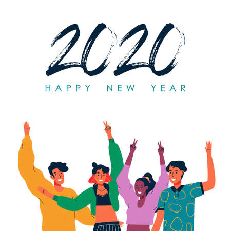 Happy New Year 2020 greeting card illustration of diverse young teen people friends together for holiday seasons greetings. Ilustracja