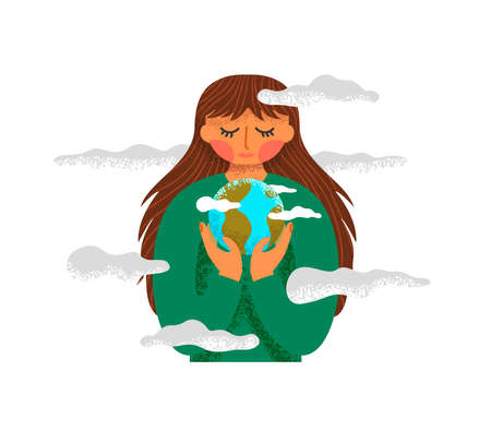 Woman holding planet earth in hand drawn cartoon style for nature care concept. Environment protection illustration on isolated white background. Ilustracja