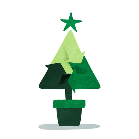 Green christmas pine tree with recycle symbol for eco friendly holiday concept. Environment care awareness illustration on isolated white background. Ilustracja