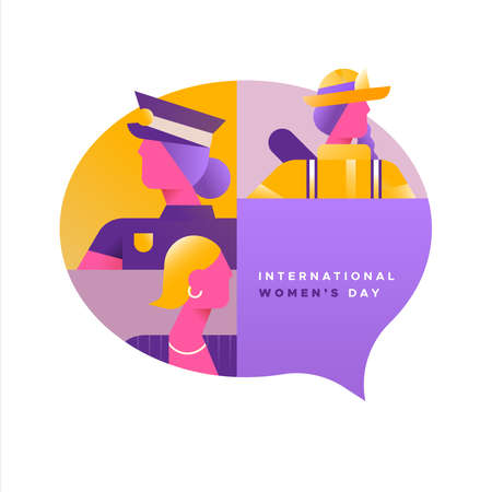 International Womens day illustration of women from diverse career jobs in social chat bubble. Includes firefighter, police and business woman.