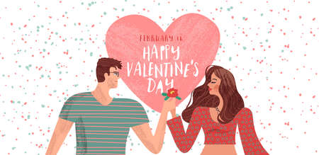 Happy Valentines day greeting card of people in love for romantic couple holiday event. Hand drawn cartoon illustration with heart text quote. Ilustrace