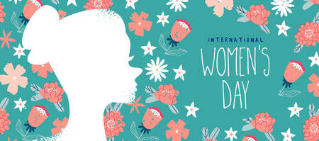 International Womens day web banner illustration, spring flower background with beautiful woman profile silhouette. Women event design in flat hand drawn style.