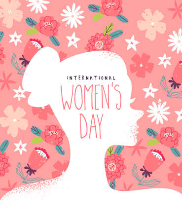 International Womens day greeting card illustration, spring flower background with beautiful woman profile silhouette. Women event design in flat hand drawn style. Иллюстрация