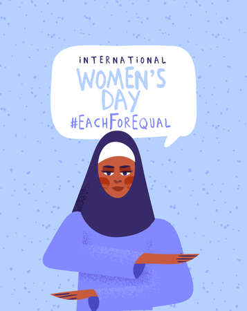 International women's day illustration. Muslim woman character making equality arm gesture, each for equal or diversity campaign design. Middle eastern girl activist concept.