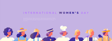 International Womens day banner template of women from diverse career jobs in modern minimalist style with copy space. Includes firefighter, police and business woman.