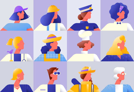 Set of diverse women workers on isolated background. Modern flat gradient character collection for female worker diversity concept. Includes chef, police, firefighter and business woman. Stock Illustratie