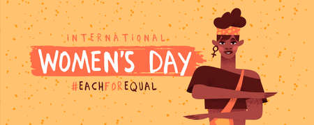 International women's day banner illustration. Feminist black woman character making equality arm gesture, each for equal or diversity campaign design. African american girl activist concept.