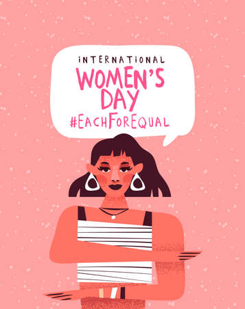 International women's day illustration. Feminist woman character making equality arm gesture, each for equal campaign design in pink hand drawn cartoon style.