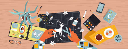 People hands cutting paper and making creative diy crafts from top view angle. Modern flat cartoon illustration of leisure activity or art workshop.  イラスト・ベクター素材