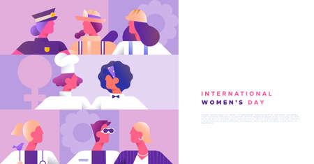 International Womens day background template of women from diverse career jobs in modern minimalist style with copy space. Includes firefighter, police and business woman.