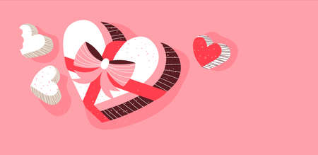 Valentines day pink chocolate candy box illustration with copy space for romantic holiday concept. Retro hand drawn cute food background.