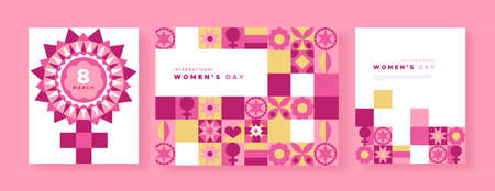 International women's day greeting card set for 8 March women event. Illustration of pink female symbol in abstract geometric style with feminine patchwork art icon mosaic. Фото со стока - 140902067