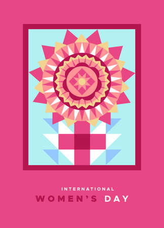 International women's day greeting card illustration of pink female symbol in abstract geometric style. Woman sign made with flat mosaic patchwork flower. Фото со стока - 140902125