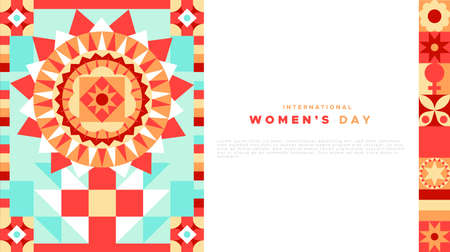 International womens day web page template with copy space text and female symbol illustration in abstract geometric style. Woman sign made of flat mosaic patchwork art. Иллюстрация