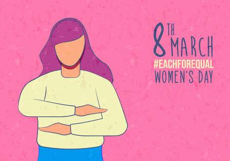 Journée internationale de la femme chacune pour une carte de voeux de campagne égale d'une femme faisant un geste de bras d'égalité. Illustration de l'événement de vacances des droits des femmes. Vecteurs