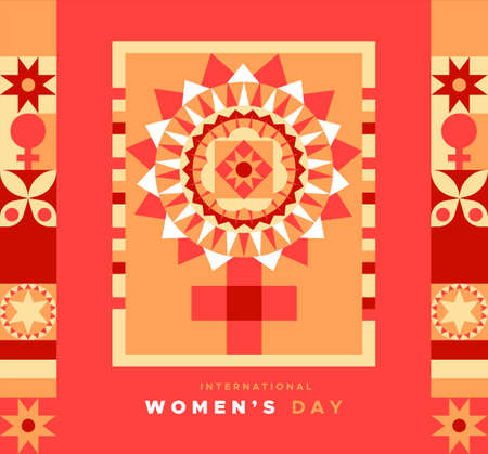 International womens day greeting card illustration of female symbol in abstract geometric style. Woman sign made with flat mosaic patchwork art.